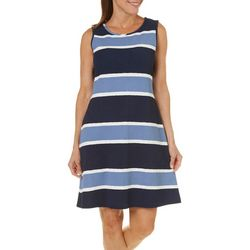 Ronni Nicole Womens Textured Stripe Print Dress