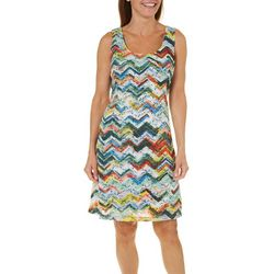 Ronni Nicole Womens Chevron Lace Fit & Flare Dress