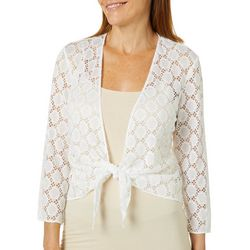 Ronni Nicole Womens Tie Front Circle Lace Shrug