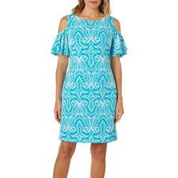 Ronni Nicole Womens Puff Print Cold Shoulder Swing Dress