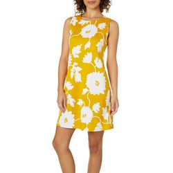 Ronni Nicole Womens Floral Puff Print Shift Dress