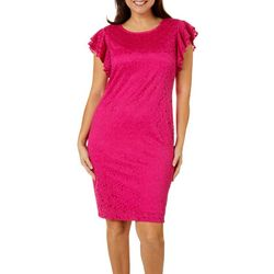 Ronni Nicole Womens Solid Lace Dress