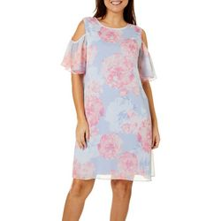 Ronni Nicole Womens Cold Shoulder Floral Dress