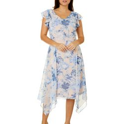Womens Flutter Sleeve Dress