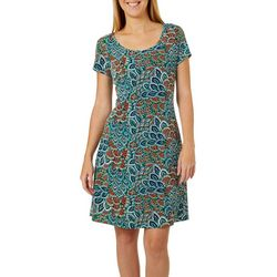 Ronni Nicole Womens Sunburst Puff Print Shift Dress