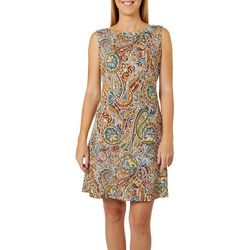 Ronni Nicole Womens Paisley Puff Print Shift Dress
