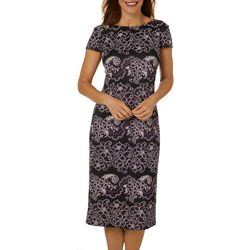 Ronni Nicole Womens Floral Puff Print Short Sleeve Dress