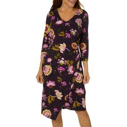 Ronni Nicole Womens Floral Print Faux Wrap Dress
