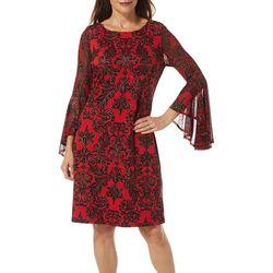 Womens Damask Print Flutter Sleeve Dress