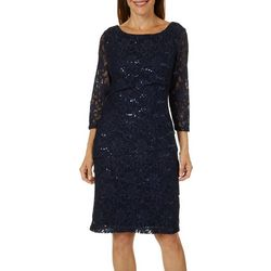 Ronni Nicole Womens Sequin Lace Tiered Dress