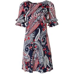 Ronni Nicole Womens Short Sleeve Ruffled Paisley Dress