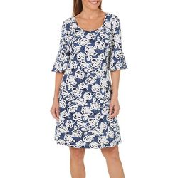 Ronni Nicole Womens Rose Print Shift Dress