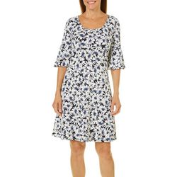 Ronni Nicole Womens Daisy Print Bell Sleeve Dress