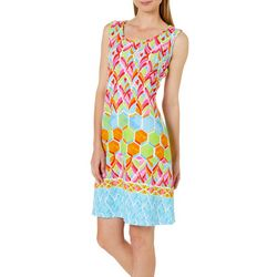 Ronni Nicole Womens Mixed Media Shift Dress