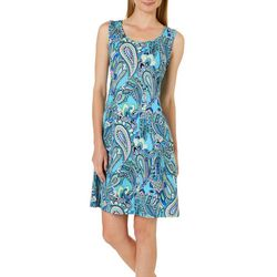 Ronni Nicole Womens Paisley Print Shift Dress