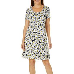 Ronni Nicole Womens Sunflower Print Swing Short Sleeve Dress