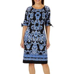 Ronni Nicole Womens Damask Print Tie Sleeve Shift Dress