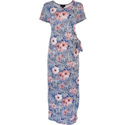RN Womens Short Sleeve Floral Tie Maxi Dress