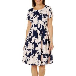 Ronni Nicole Womens Floral Fit N Flare Panel Dress