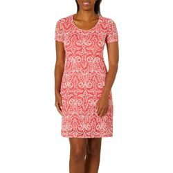Ronni Nicole Womens Abstract Lace Shift Dress