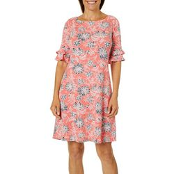 Ronni Nicole Womens Puff Print Ruffle Sleeve Dress