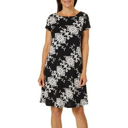 Ronni Nicole Womens Puff Print Short Sleeve Swing Dress