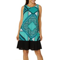Ronni Nicole Womens Mixed Geometric Print Shift Dress