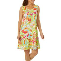 Womens Sleeveless Retro Paisley Print Dress