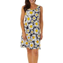 Womens Textured Daisy Print Shift Dress
