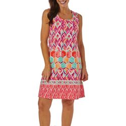 Ronni Nicole Womens Watercolor Tile Print Shift Dress