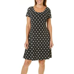 Ronni Nicole Womens Dot Print T-Shirt Dress