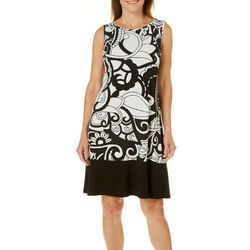 Ronni Nicole Womens Paisley Solid Hem Dress
