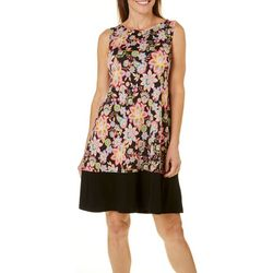Ronni Nicole Womens Floral Solid Hem Dress