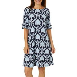 Ronni Nicole Womens Medallion Puff Print Ruffle Sleeve Dress