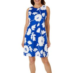 Womens Large Floral Puff Print Sleeveless Dress