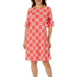 Ronni Nicole Womens Three Quarter Ruffled Sleeve Dress