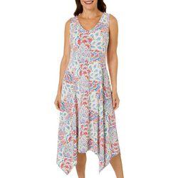 Ronni Nicole Womens Floral Puff Print Handkerchief Hem Dress