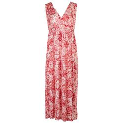 RN Womens Smocked Waist V-Neck Maxi Dress