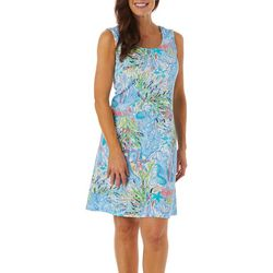 Ronni Nicole Womens Sleeveless Textured Coral Print Dress