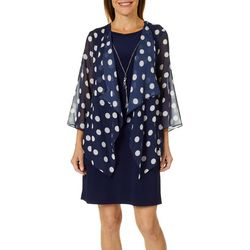 Tiana B Womens Polka Dot Chiffon Jacket Dress