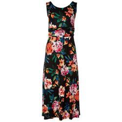 Womens Deep Floral Midi Dress