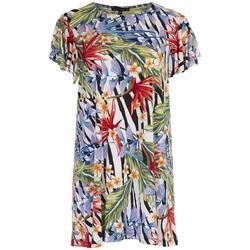 Womens Printed Flutter Sleeve Dress