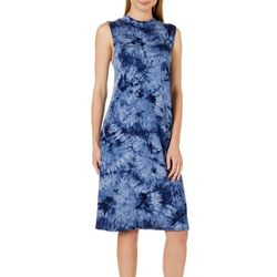Tiana B Womens High Neck Tie Dye Shift Dress