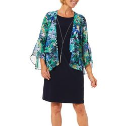 Tiana B Womens Tropical Floral Chiffon Jacket Dress