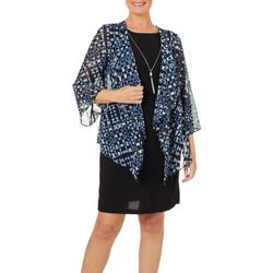 Tiana B Womens Geometric Print Chiffon Jacket Dress
