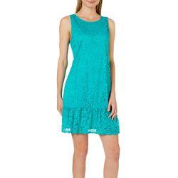 Tiana B Womens Lace Ruffle Hem Shift Dress
