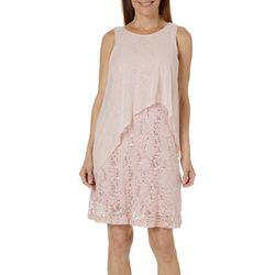 Tiana B Womens Sequined Lace Mesh Overlay Dress
