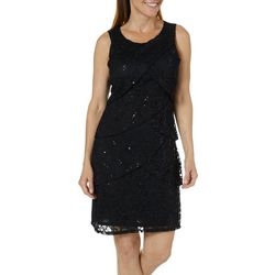 Tiana B Womens Sequined Floral Lace Sleeveless Dress