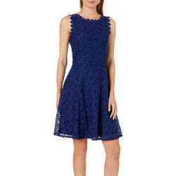 Tiana B Womens Floral Lace Fit & Flare Dress