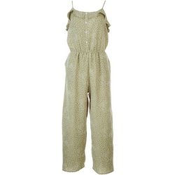 Gilli Womens Dotted Ruffle Jumpsuit